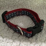 "Dog Collar - 3/4"" webbing - Small / Anchors on Red - Dog - H2Overboard - 11"
