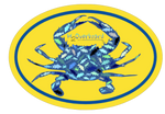 Crab Camo Oval Sticker - Blue Crab - Yellow/Blue - Stickers - H2Overboard - 2