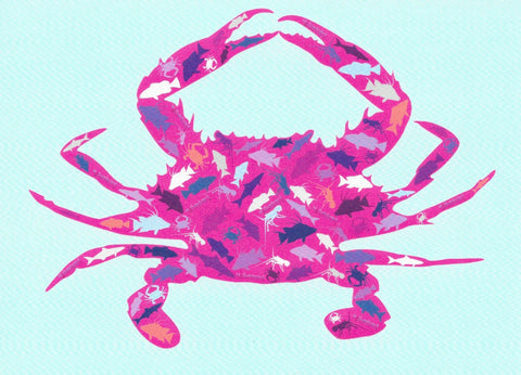 Greeting Card - Pink Crab