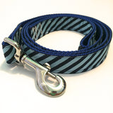 Leash - 1 inch webbing - Stripes on Royal Blue / 4 ft - Dog - H2Overboard - 15