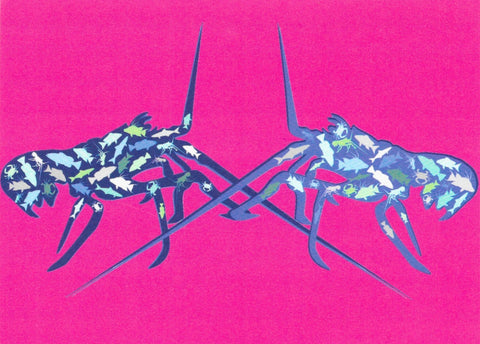 Greeting Card - Double Blue Lobster