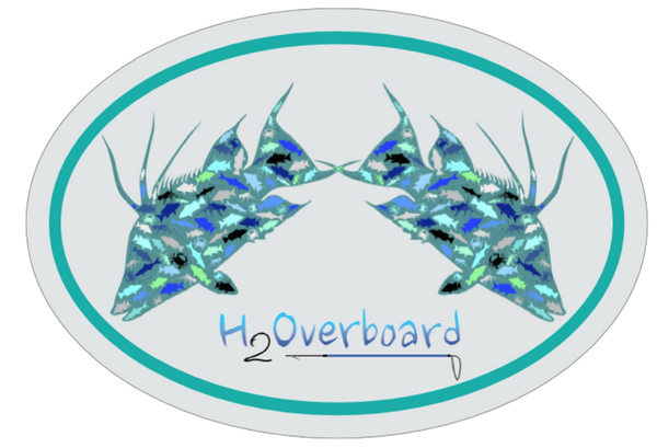 Hogfish Camo Oval Sticker - Silver/Bahama Green - Stickers - H2Overboard