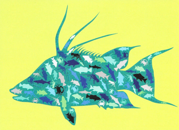 Greeting Card - Teal Hogfish