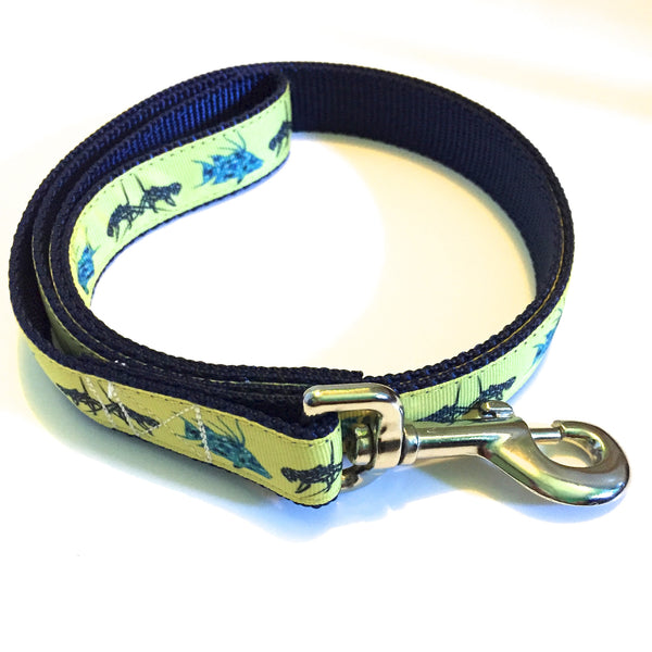 Leash - 1 inch webbing - Lobster and Hogfish on Navy / 4 ft - Dog - H2Overboard - 17