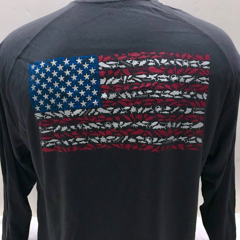 American Flag Long Sleeve Sport Shirt