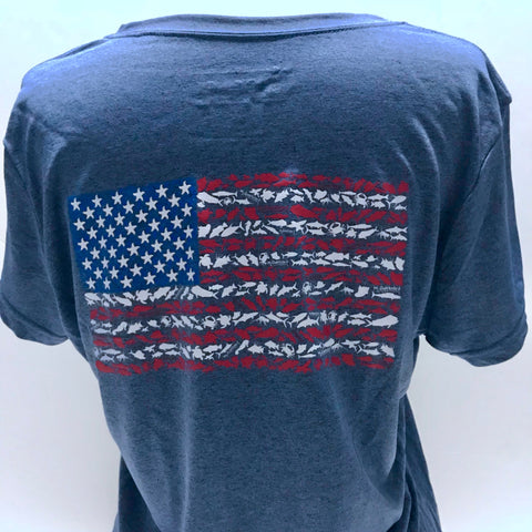 American Flag Ladies Short Sleeve V-Neck Sport Shirt