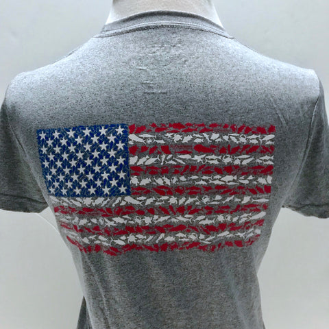 American Flag Ladies Short Sleeve Sport Shirt