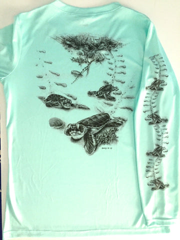 Homeward Bound Ladies Performance Shirt - Seafoam Green / X-Small - Performance Shirt - Jim Barry Art - 1