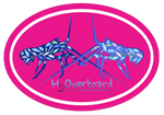 Lobster Camo Oval Sticker - Blue Lobster - Hot Pink/White - Stickers - H2Overboard - 4