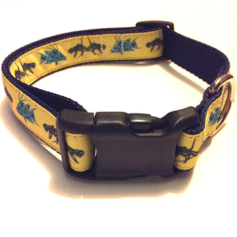 "Dog Collar - 1"" webbing - Large / Lobster and Hogfish on Navy - Dog - H2Overboard - 2"