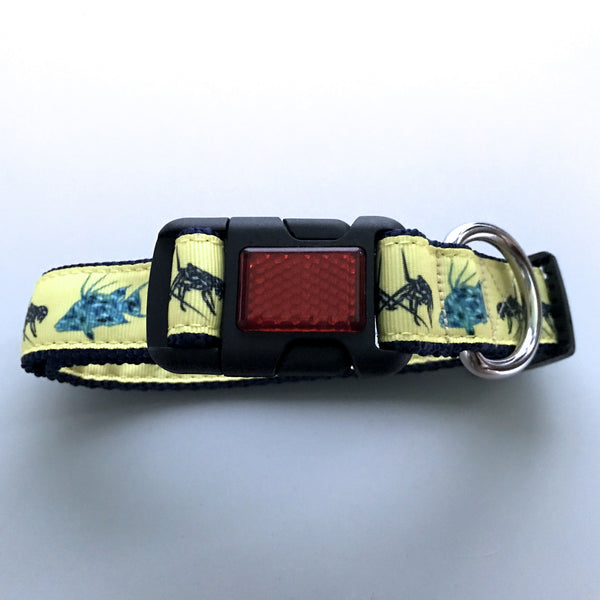 "Dog Collar with Red Reflector Buckle - 1"" webbing"