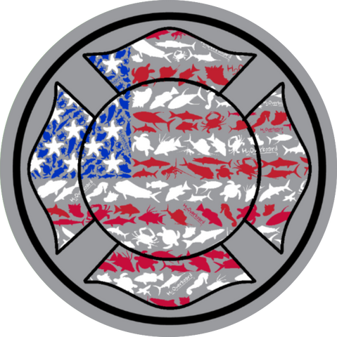 American Maltese Cross Sticker