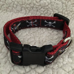 "Dog Collar - 3/4"" webbing - Small / Pirates on Red - Dog - H2Overboard - 6"