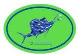Sailfish Camo Oval Sticker - Lime Green/Blue - Stickers - H2Overboard - 3