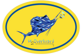 Sailfish Camo Oval Sticker - Yellow/Blue - Stickers - H2Overboard - 2