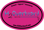 H2Overboard Oval Sticker - Hot Pink/Black - Stickers - H2Overboard - 10