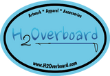 H2Overboard Oval Sticker - Light Blue/Black - Stickers - H2Overboard - 6