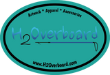 H2Overboard Oval Sticker - Turquoise/Black - Stickers - H2Overboard - 4