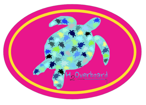 Turtle Camo Oval Sticker - Hot Pink/Yellow - Stickers - H2Overboard - 2