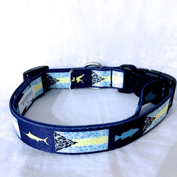 Bahamian Flag fish camo dog collar