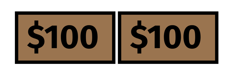 An image of two rectangles side by side. Each rectangle represents $100 and that text is contained within each rectangle.
