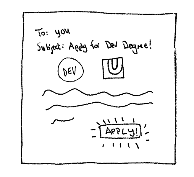 """An illustration of an email that reads """"To: you. subject: apply for Dev Degree!"""" with an """"apply!"""" button at the bottom"""