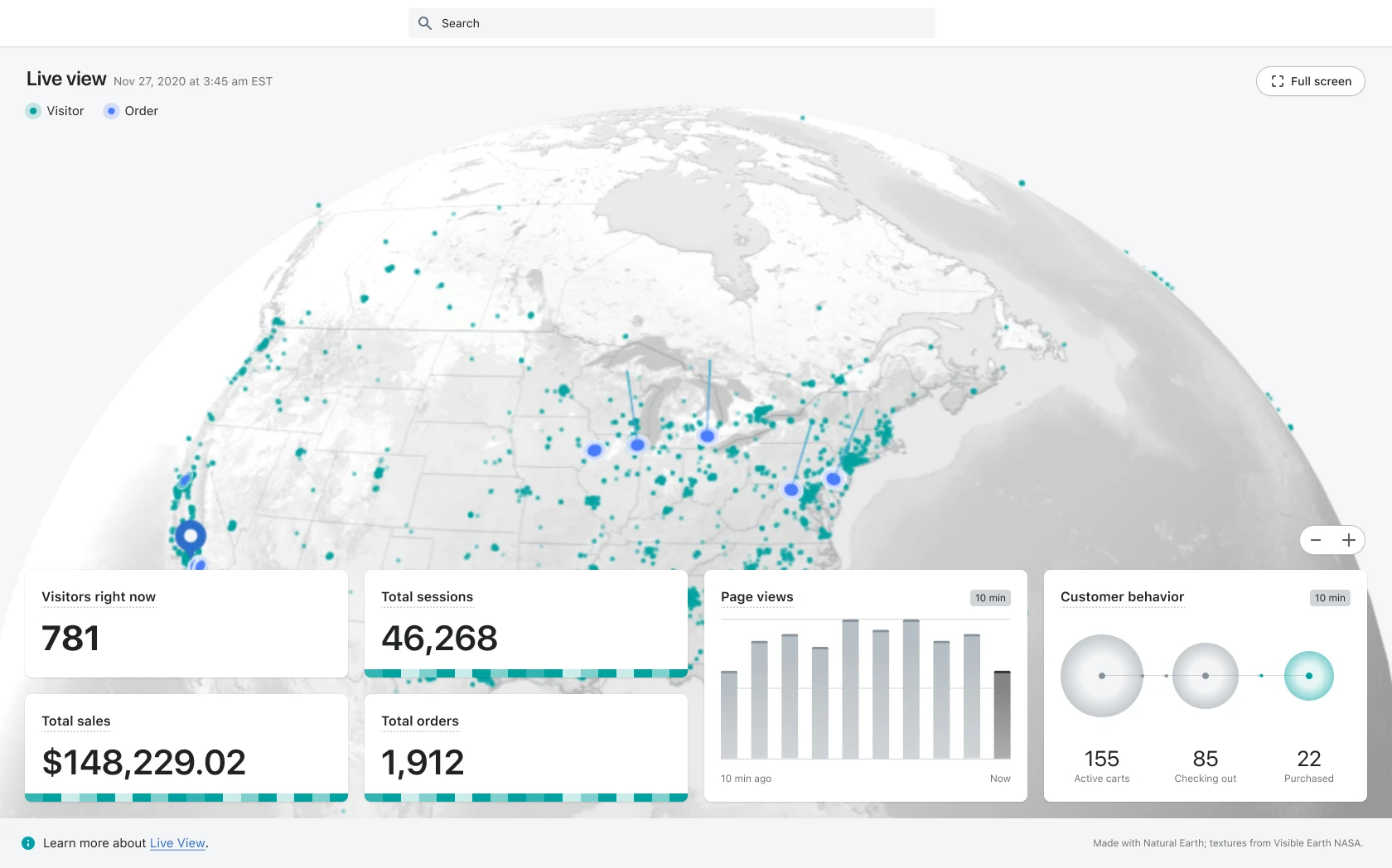An image of the Shopify Analytics section in Live View. The image consists of an image of the earth that's focused on Canada and the US. There are dots of blue and green across the US and Canada representing visitors and orders to the Shopify store.  At the bottom of the image is a dashboard showcasing Visitors right now, Total sessions, Total Sales, Total orders, Page views, and Customer behaviour.