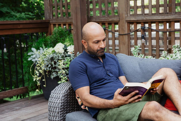 Farhan Thawar sits out reading a book to recharge in the new Digital by Default reality.