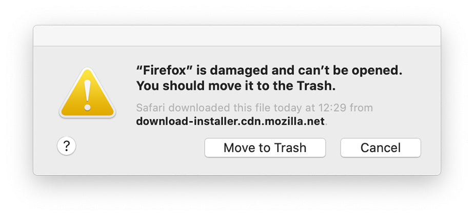 A macOS dialog window showing that Firefox is damaged and can't be opened. It gives users the option of moving it to the Trash.