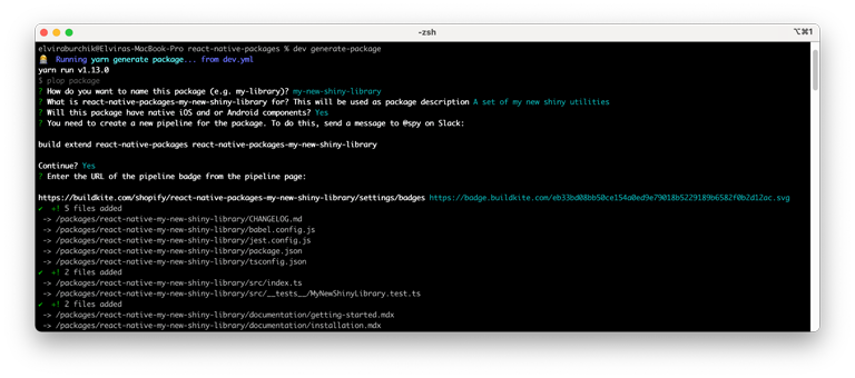 Terminal window showing the script that prompts the user for answers to questions needed to create the packages and CI pipelines.