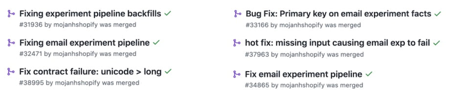 Github PR montage, showing a series of bug fixes.