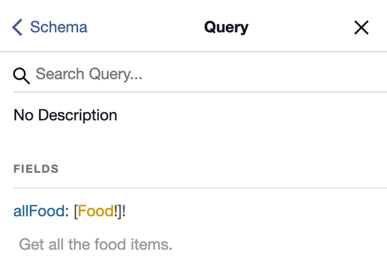 A screenshot of the Query screen with a result displaying the field allFood: [Food!]!
