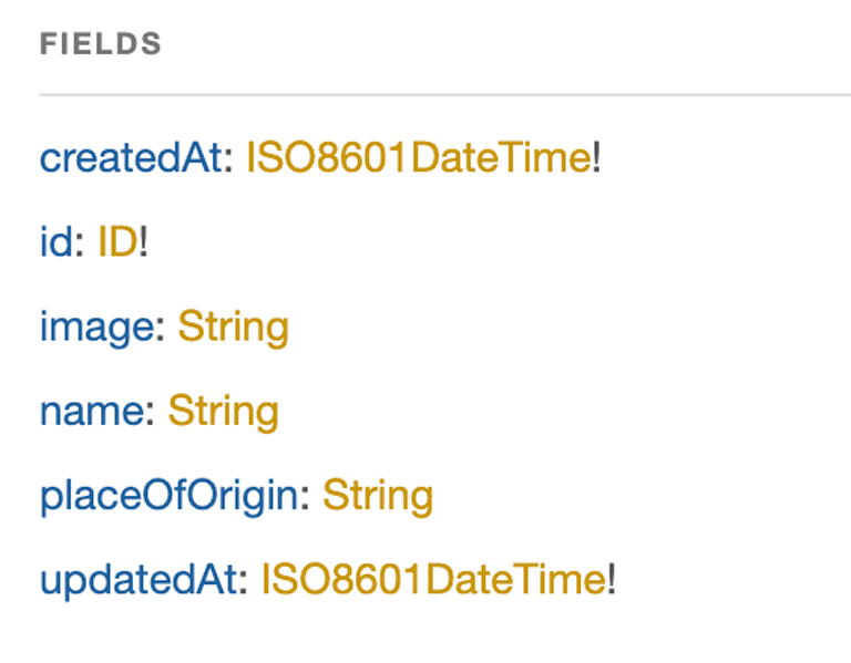 A screenshot listing the all fields contained in the all_food query.