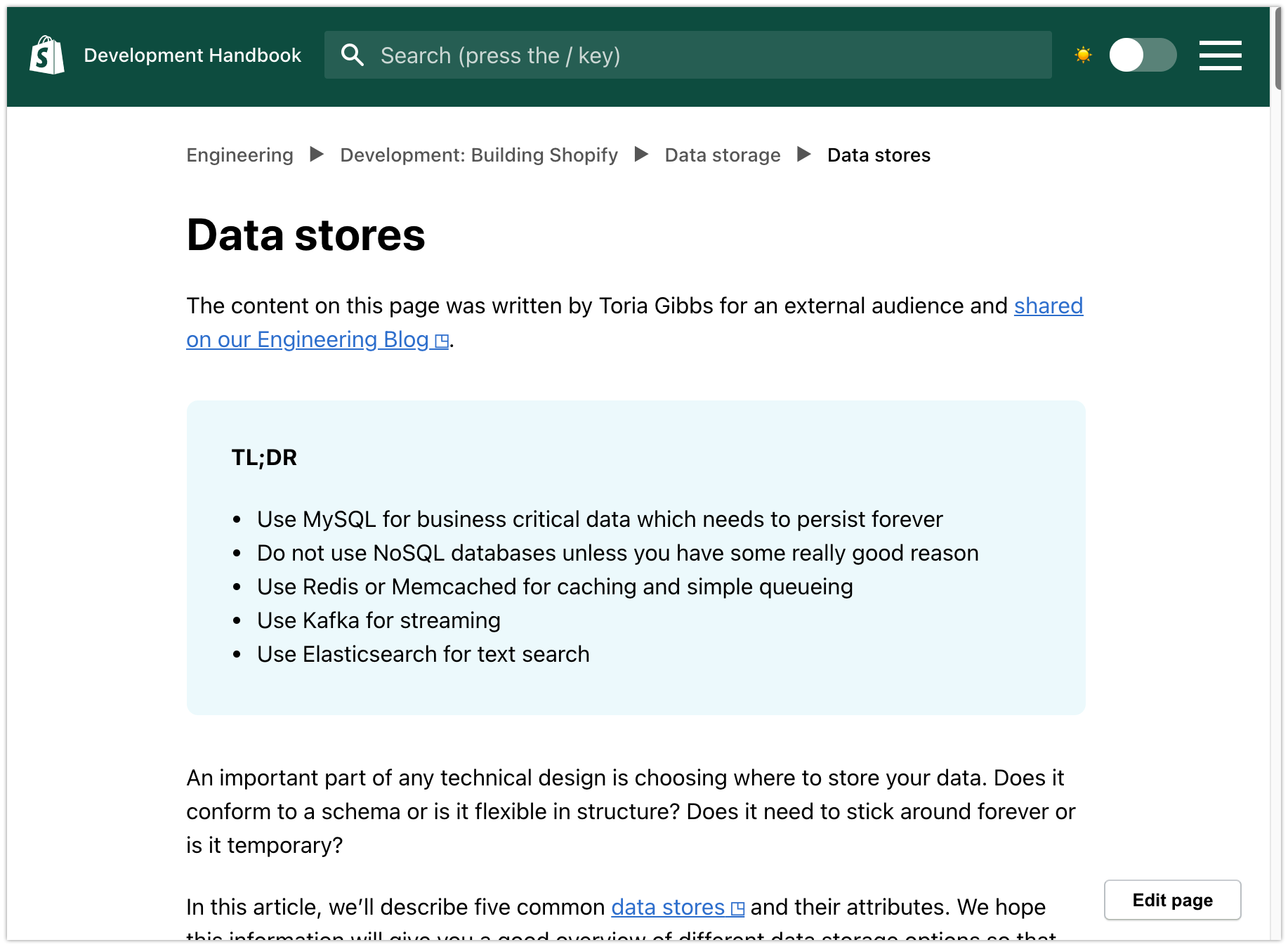 A sample page from the Development Handbook website.  The top of the page contains the search functionality and hamburger menu. Below that is a breadcrumb menu feature.  The title of the Page is Data Stores and the copy is shown below the title.