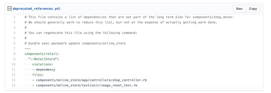 List of deprecated references for components/online_store