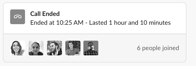 An ended Slack huddle window that shows the profile photos of the attendees and the amount of time the huddle lasted.