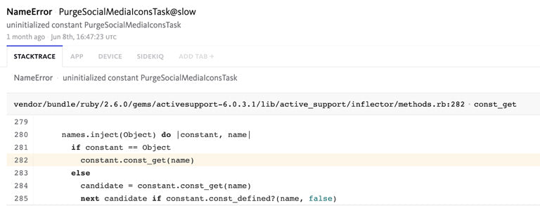 Stacktrace showing NameError raised in production after Sorbet was enabled because of meta-programming like const_get