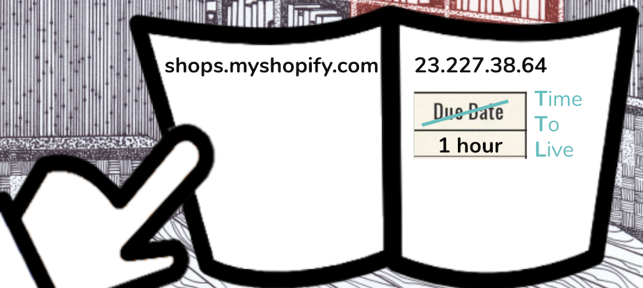 The image is telling us that shops.myshopify.com corresponds to the IP address 23.227.38.64