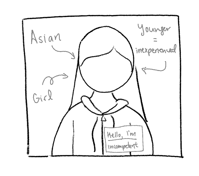 """A doodle of a headshot with a nametag that reads """"hello, I'm incompetent"""". It is annotated with the labels, """"Asian"""", """"girl"""", and """"younger = inexperienced"""""""