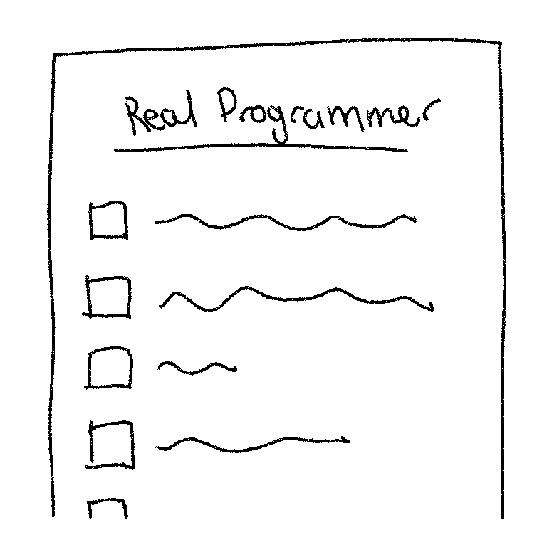 """An illustration of a checklist titled, """"Real Programmer"""" with none of the boxes ticked"""