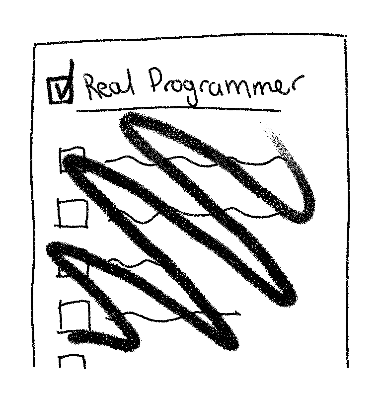 """An illustration of the Real Programmer checklist, but criteria has been scratched out and a ticked box added next to checklist title, """"Real Programmer"""""""