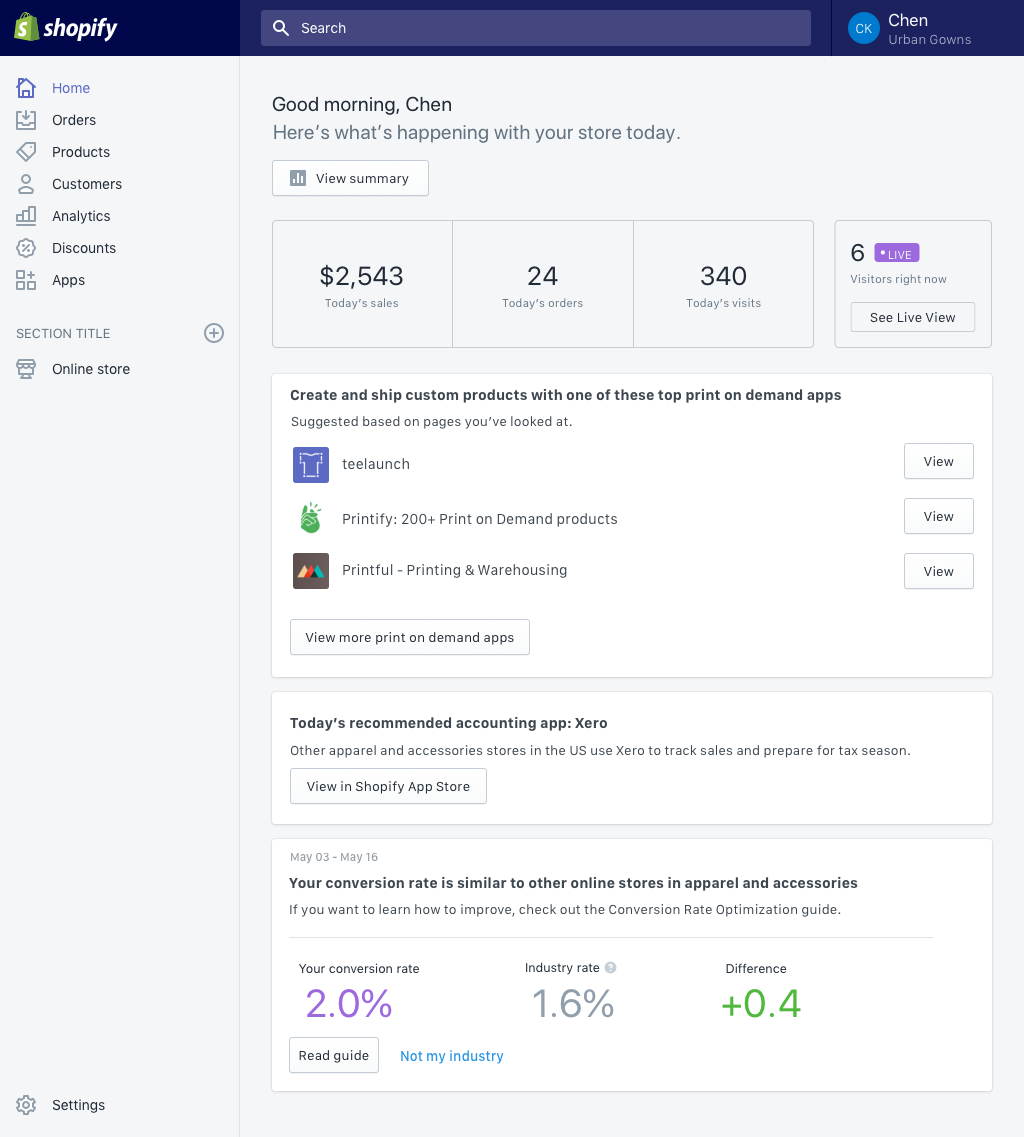 Shopify Home Feed: Showing Merchants how Their Business is Doing, Along With Personalized Insights