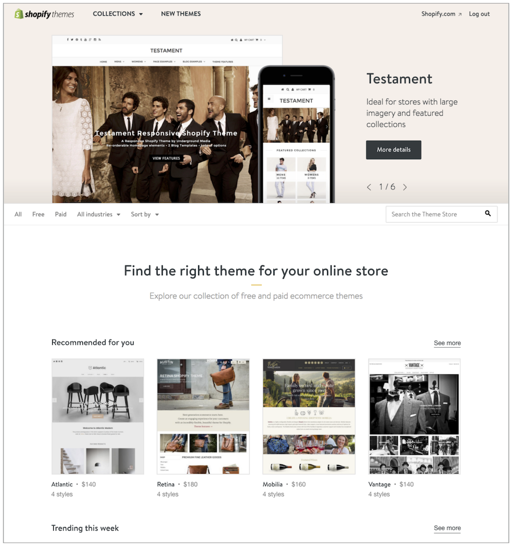 Shopify Theme Store: Where Merchants can Select Themes for Their Online Store