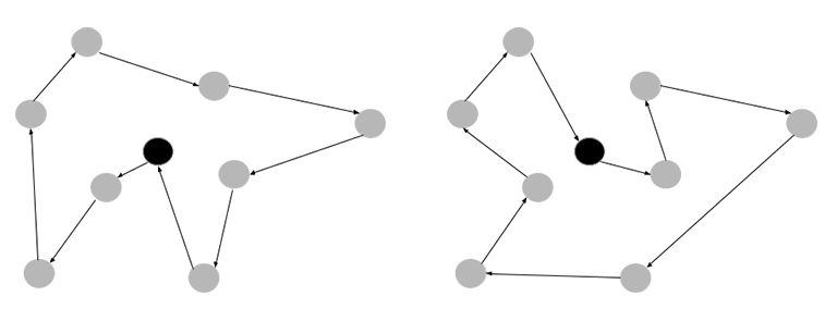 An image of two solutions to the same TSP instance with the home location in black. The route solutions can be done counterclockwise or clockwise