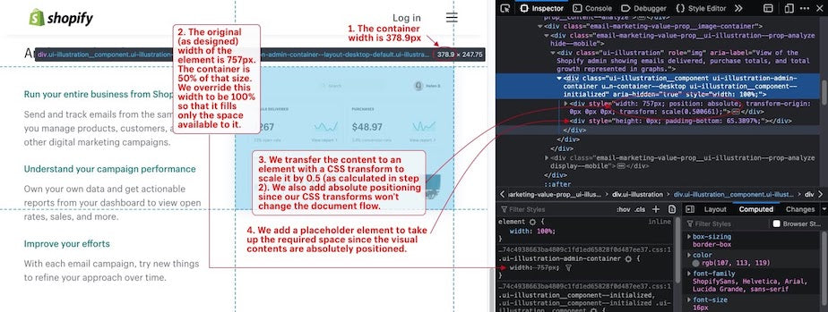 "A screenshot of a page open in the browser with developer tools open. In the page, a UI Illustration is shown side-by-side with some text, and the highlighted element in the inspector matches that as described above. The override for the container width can be seen in the style inspector. In addition, the described element is assigned a property of ""aria-hidden: true"", and its container is a `div` with `role: ""img""` and an aria-label describing the visual as ""View of the Shopify admin showing emails delivered, purchase totals, and total growth represented in graphs"""