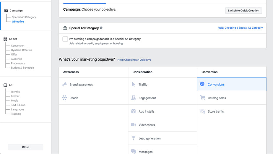 Facebook Ads Manager Screenshot