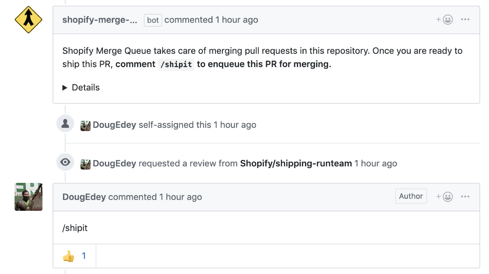 Merge Queue v2 went with a comment-based interface