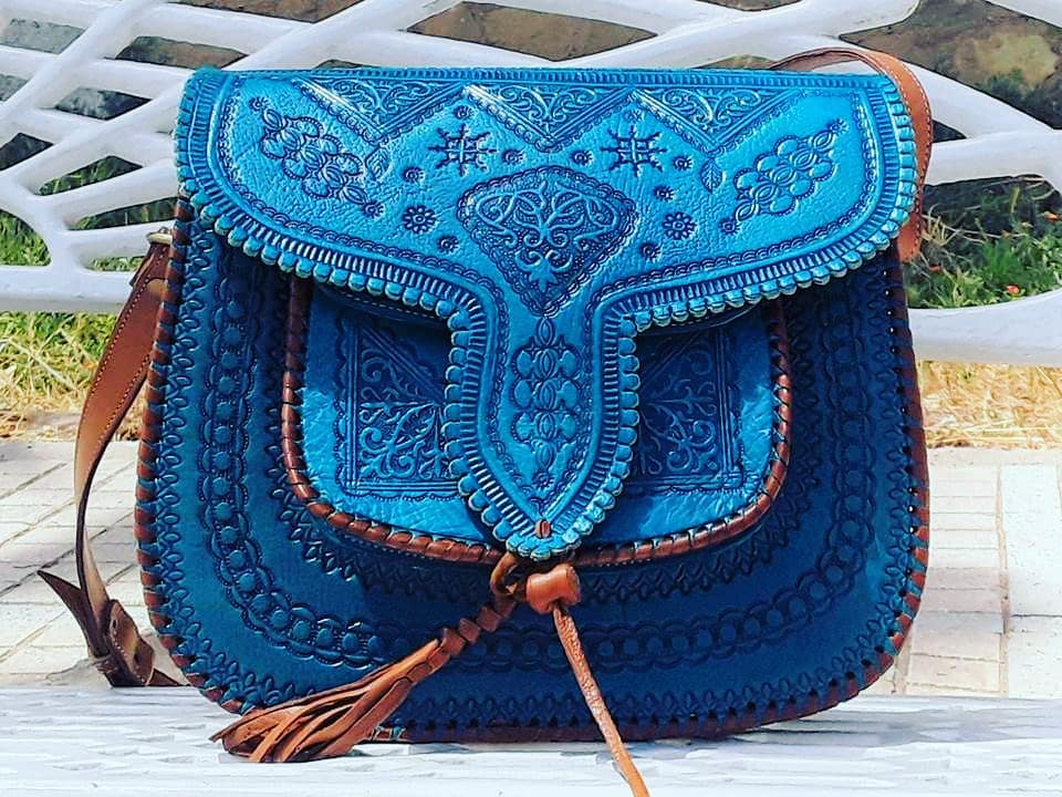 Leather Bag - Turquoise color - LSSAN Shoulder bag by Moroccan Corridor