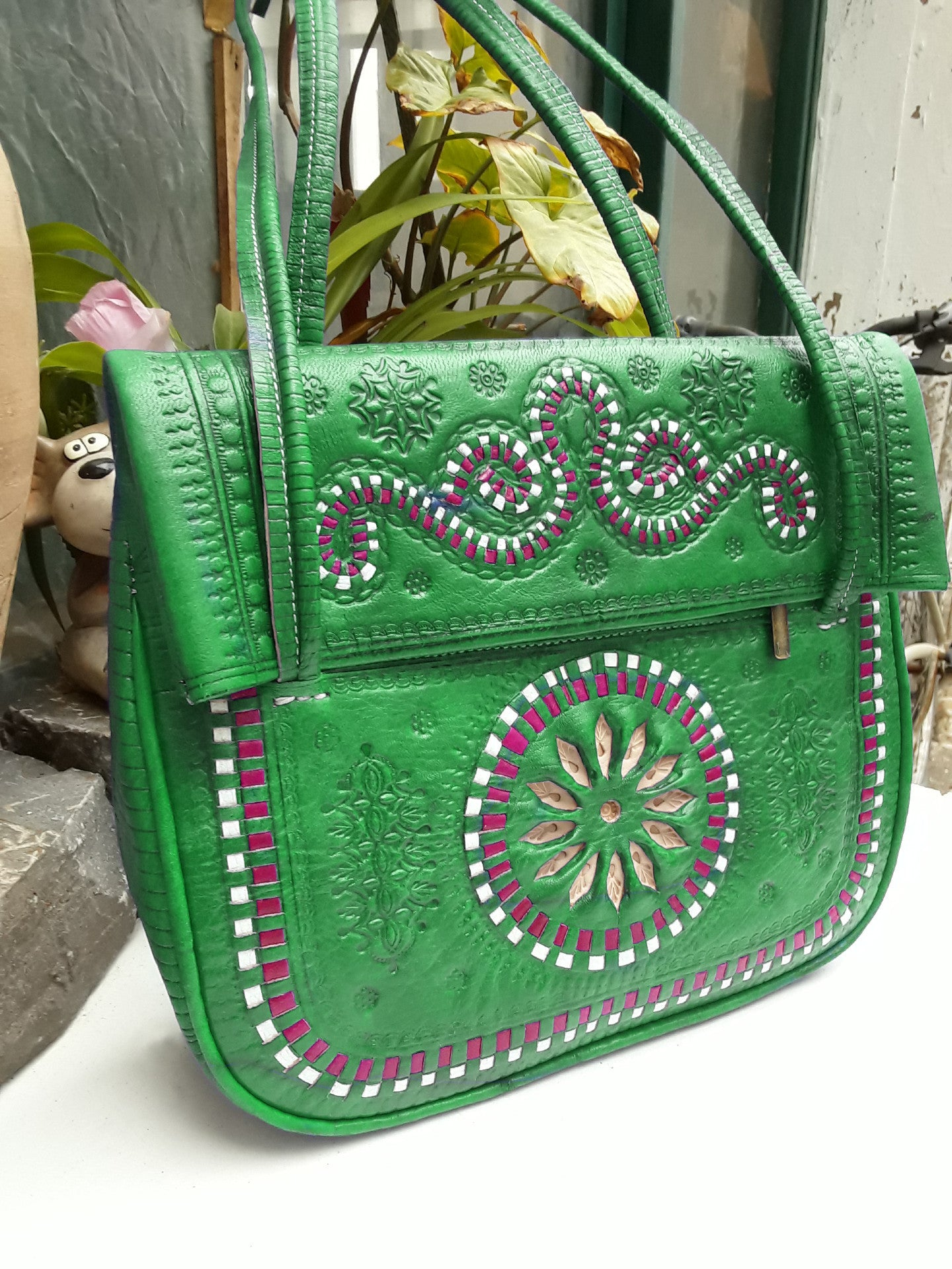 Jeblia Leather Tote Bag - Embroidered - Green