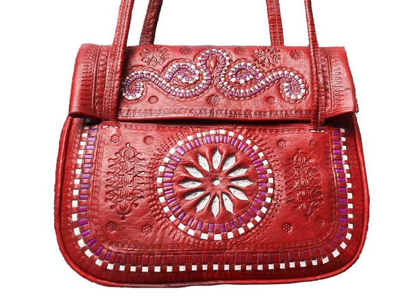 Red Leather Bag - Jeblia Bag by Moroccan Corridor